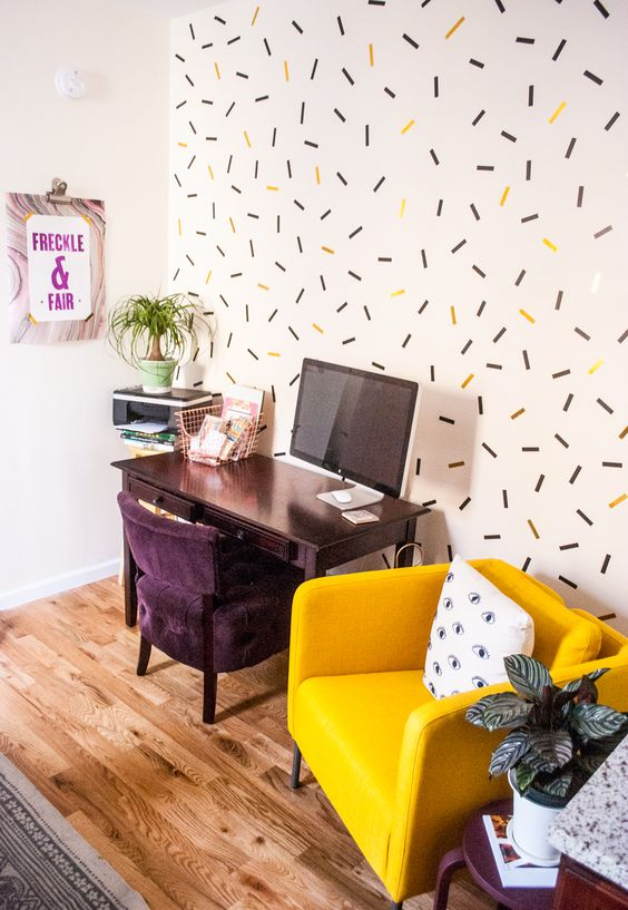 DIY Oversized Confetti Mural Using Washi Tape.