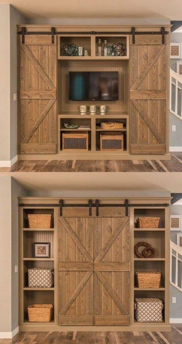 Open The Barn Doors For An Entertainment Center And Close Them For A Bookshelf.