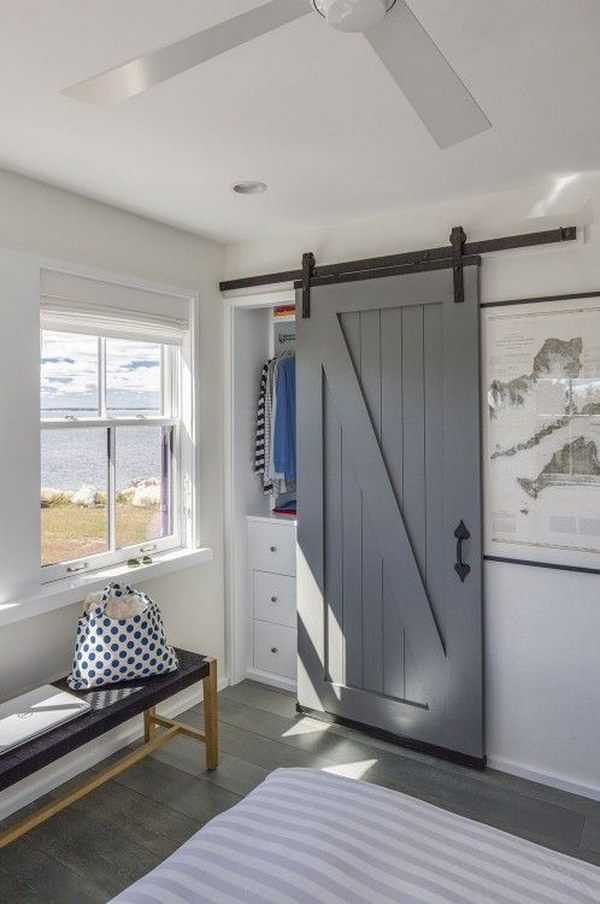 Sliding Barn Door Used For Closet.