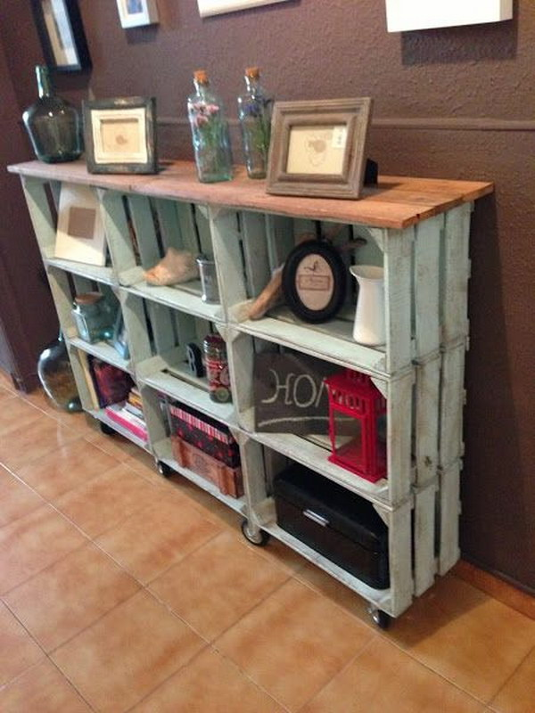 DIY Vintage Crate Console Table