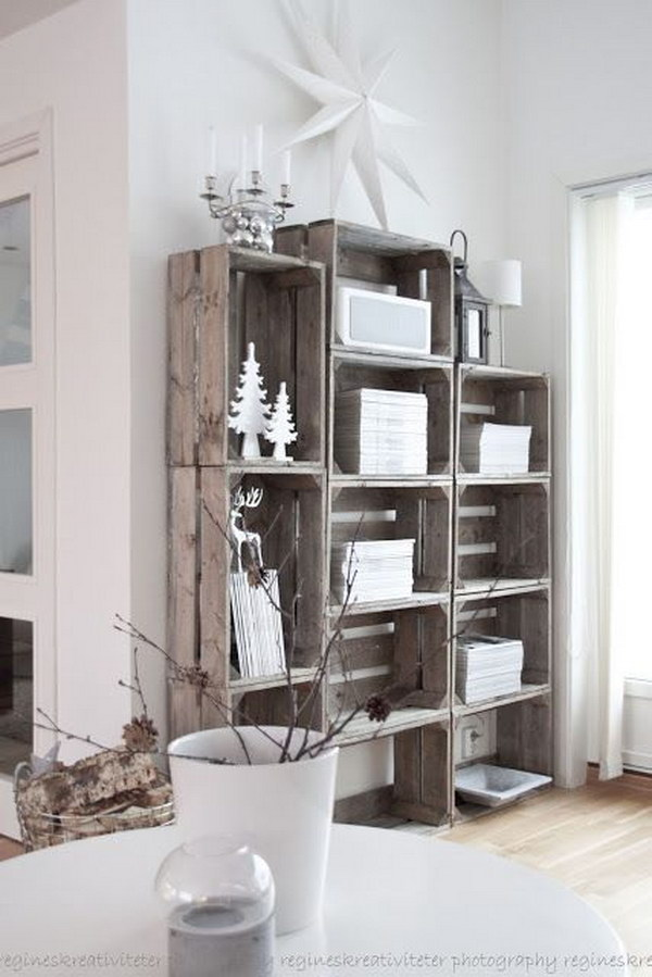 Stacked Crate Bookshelves
