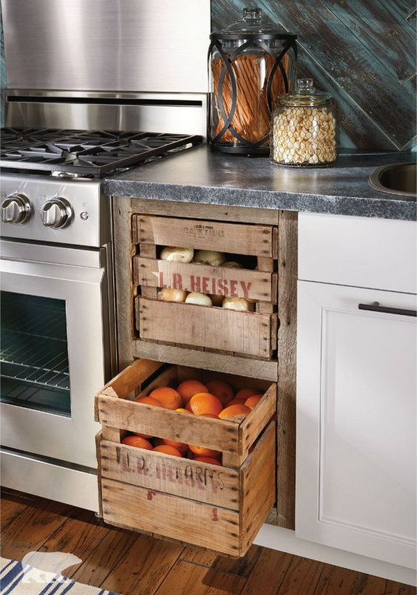 Kitchen Recycled Crates Drawers