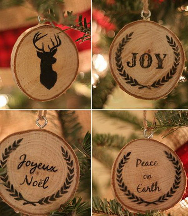rustic wood slice ornaments - Homemade Christmas Ornament Ideas