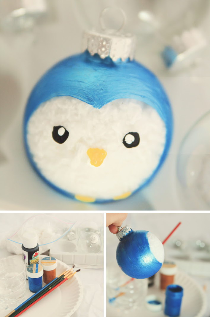 cute painted penguin ornament - Cute Diy Christmas Decorations
