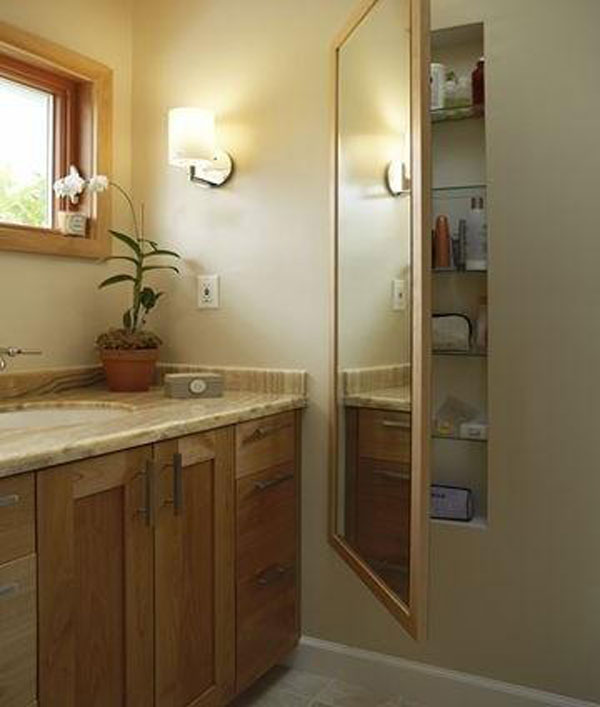 Bathroom Hidden Storage behind the Mirror.