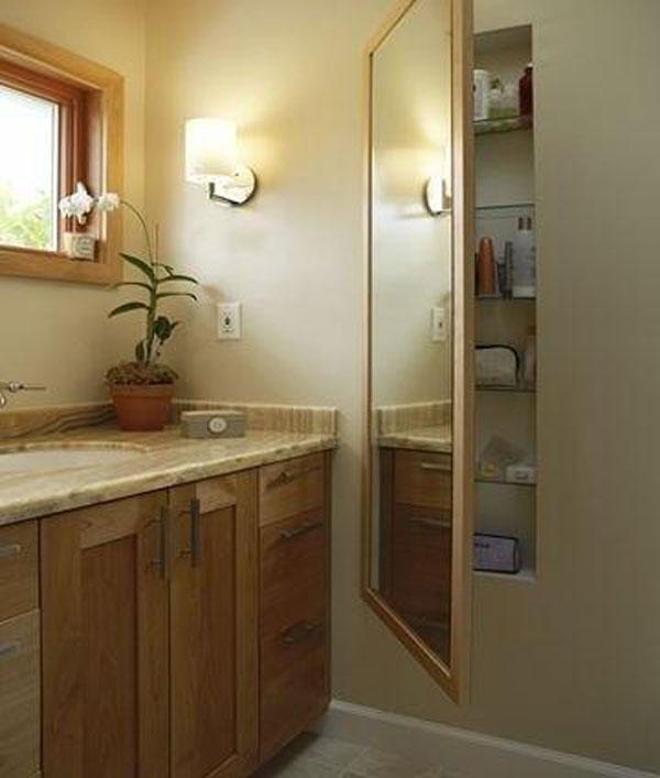 Bathroom Hidden Storage behind the Mirror.
