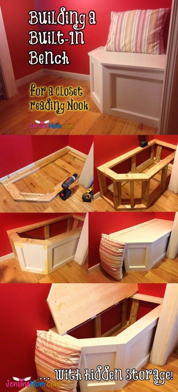 DIY Built-in Bench With Hidden Storage.