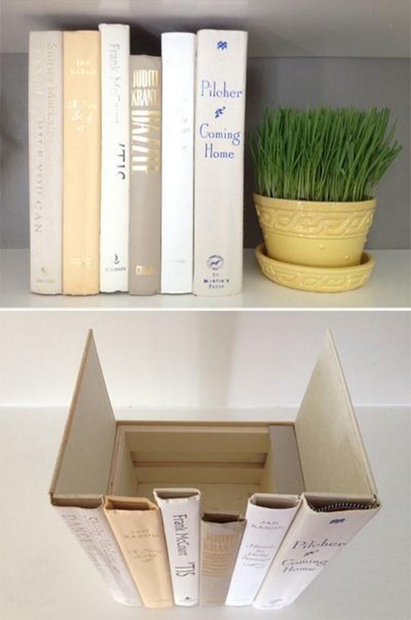 Hidden Storage Behind the Books Spines.