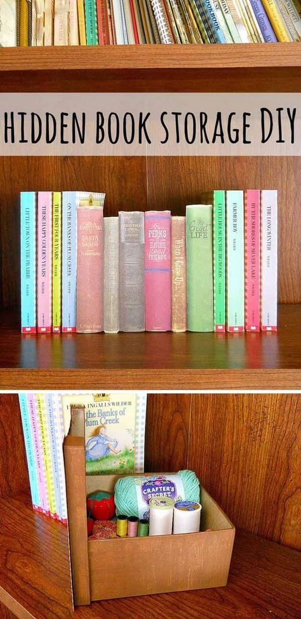 DIY Hidden Book Storage.