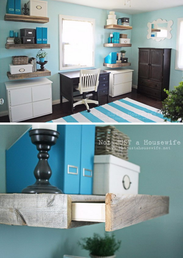 Reclaimed Wood Shelves with Hidden Drawers.