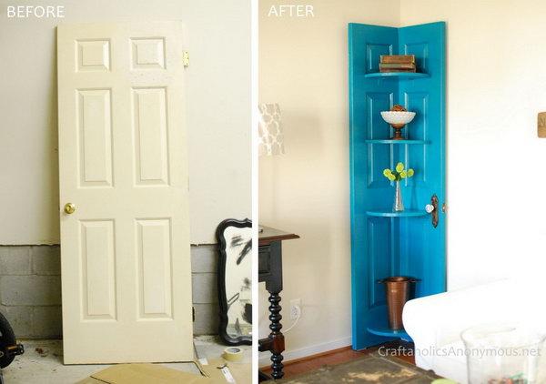Turn an Old Vintage Door into a Corner Door Shelf.