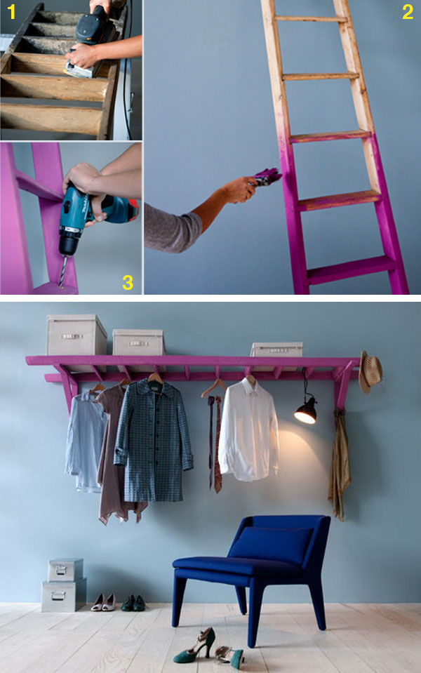 Use a Ladder and 2 Wooden Brackets to Make a Decorative Clothes Rack.