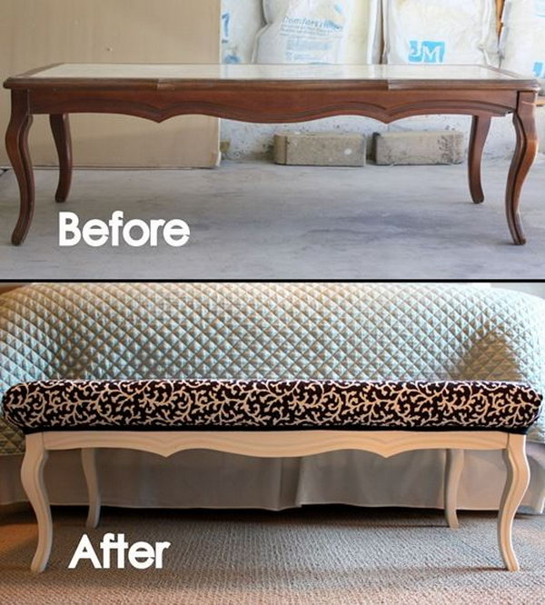 DIY Stylish Ottoman from an Old Coffee Table.