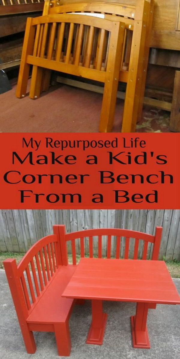 Make a Kid's Corner Bench and Play Table from an Old Bed .