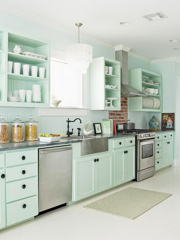 mint green kitchen cabinets - Green Kitchen Cabinets