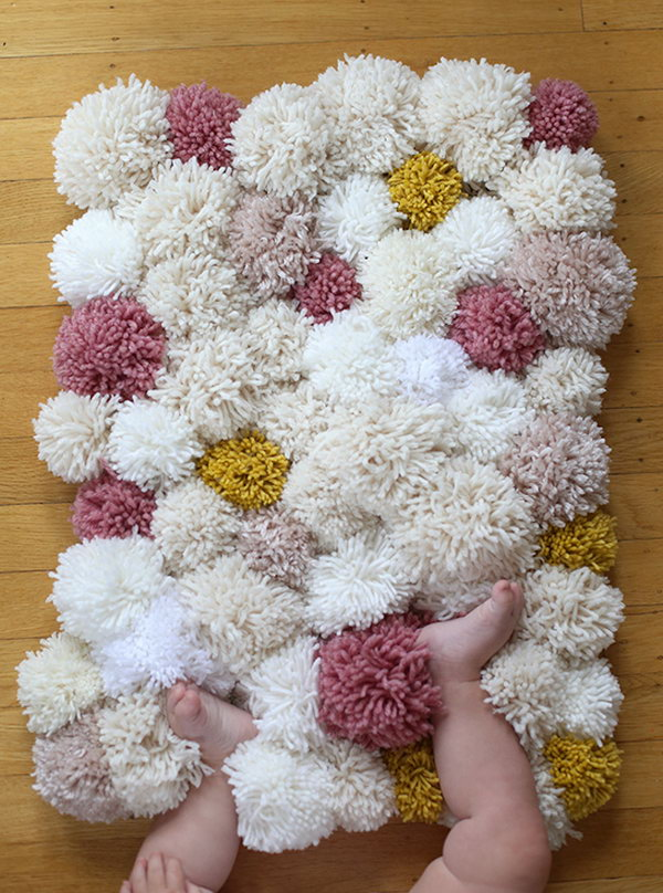 DIY Soft and Fluffy Pom-pom Rugs.