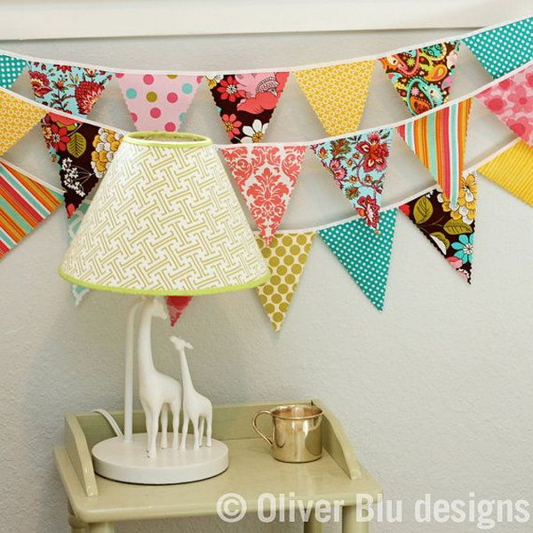 Mini Pennant Fabric Banner Bunting for Baby Room's Decorating.