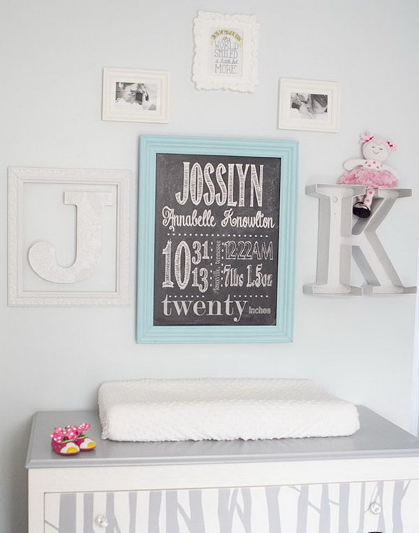 DIY Birth Stat Chalkboard Wall Art. See more instructions