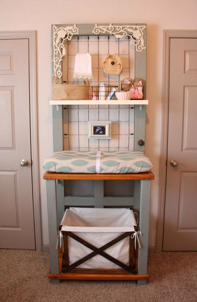 DIY Baby Changing Table Made from an Old Door.