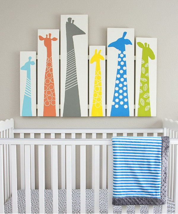 DIY Giraffe Nursery Wall Art.