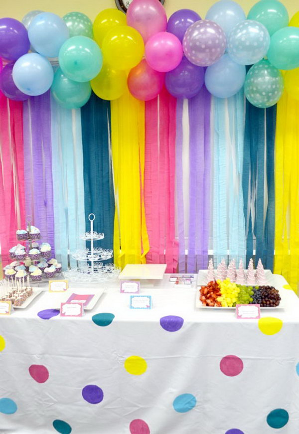 Adorable Balloon and Streamers Backdrop.