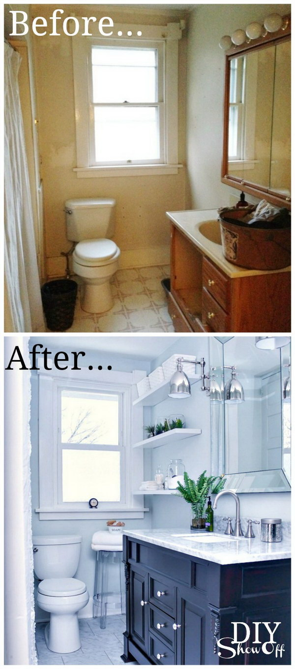 before and after makeovers 20 most beautiful bathroom remodeling diy tiny bath makeover