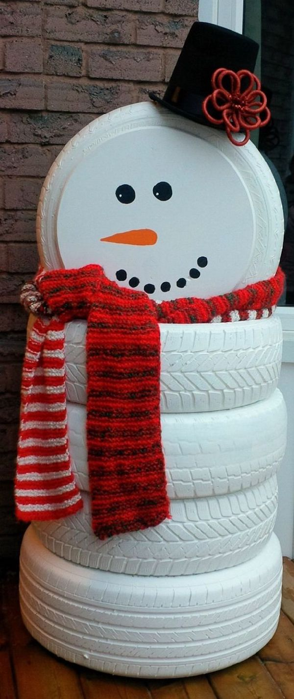DIY Snowman Made Out of Old Tires.