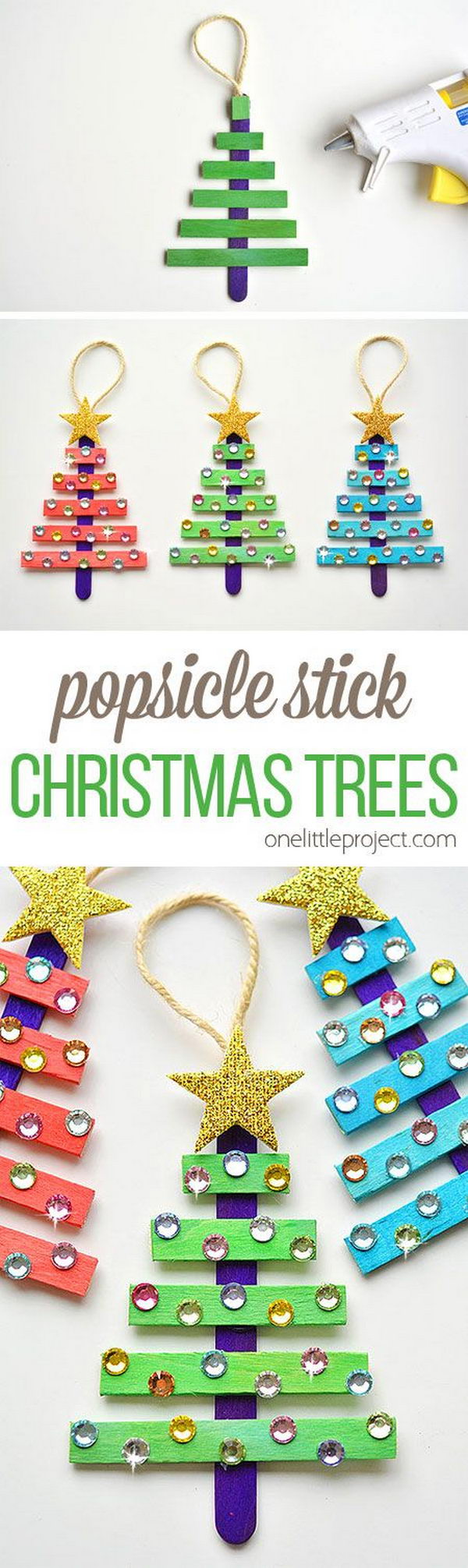 Glittering Popsicle Stick Christmas Trees .