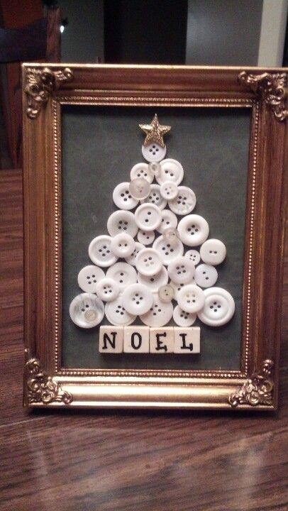 Button Tree Decor with NOEL Sign.