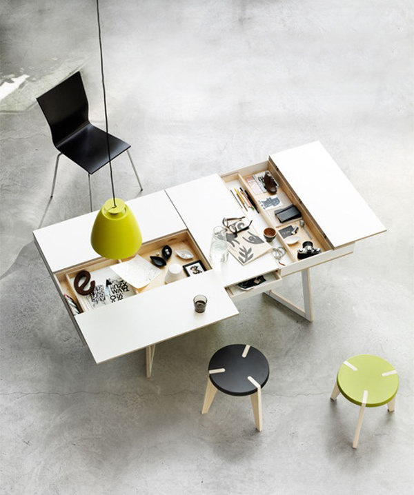 Compact Workspace Table With Hidden Storage