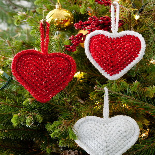 Crochet Christmas Love Hearts Ornaments.