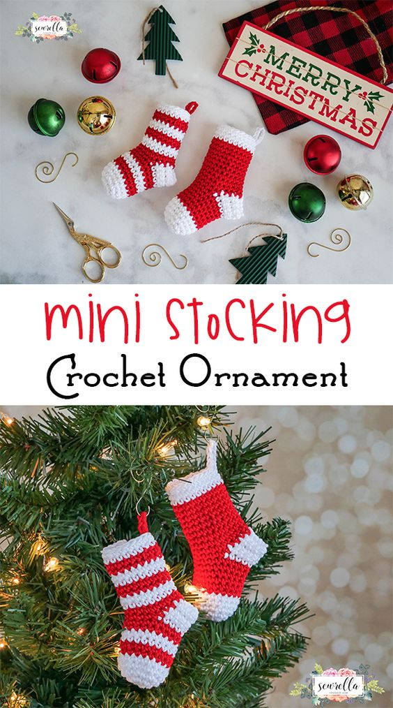 Mini Christmas Stocking Crochet Ornament.