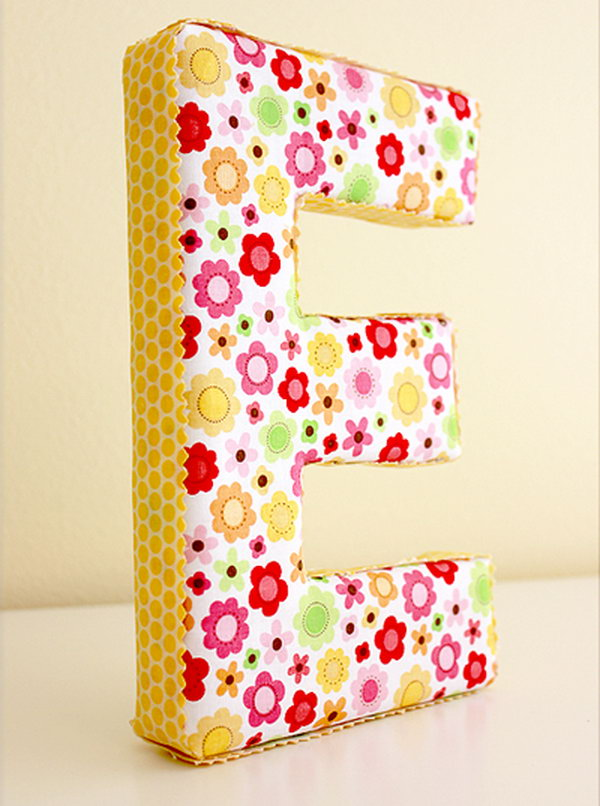 Fabric Covered Letter. See the directions