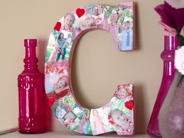 Wooden and Fabric Letters for Showcasing Family Photo.