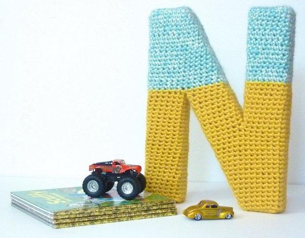 DIY Cardboard Letter with Crochet Mat.