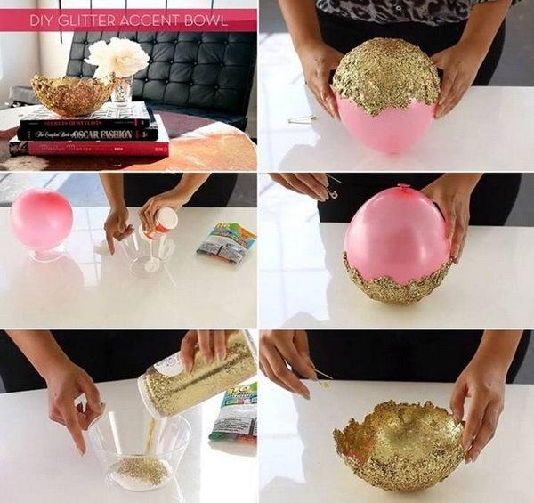 Glitter Glue Accent Bowl. Video Tutorial