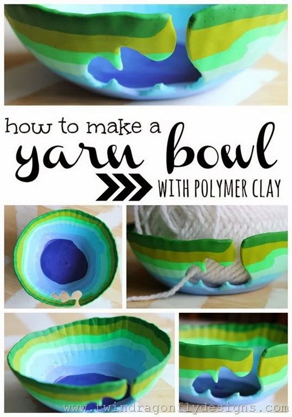 DIY Yarn Bowl with Polymer Clay.  Get the tutorial