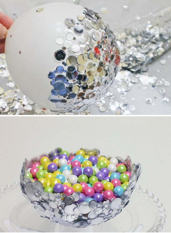 DIY Metallic Confetti Bowl. Get the tutorial