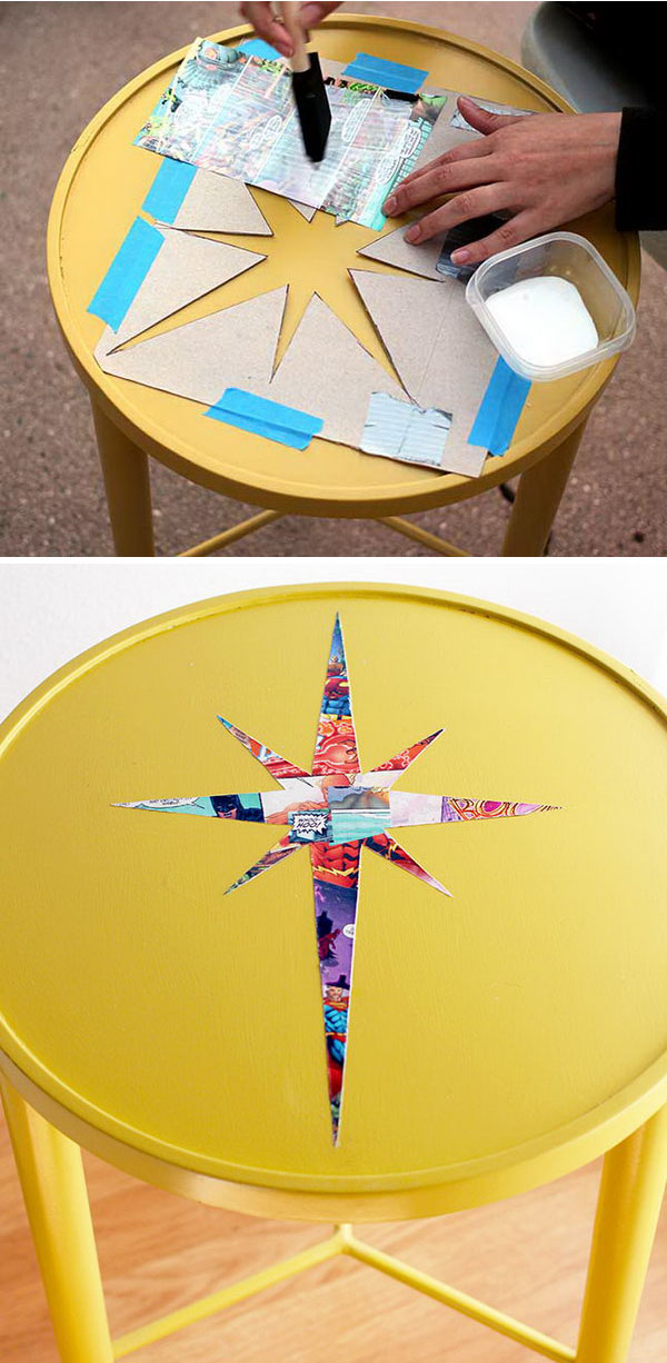 side table comic book decoupage makeover decoupage ideas for furniture88 decoupage