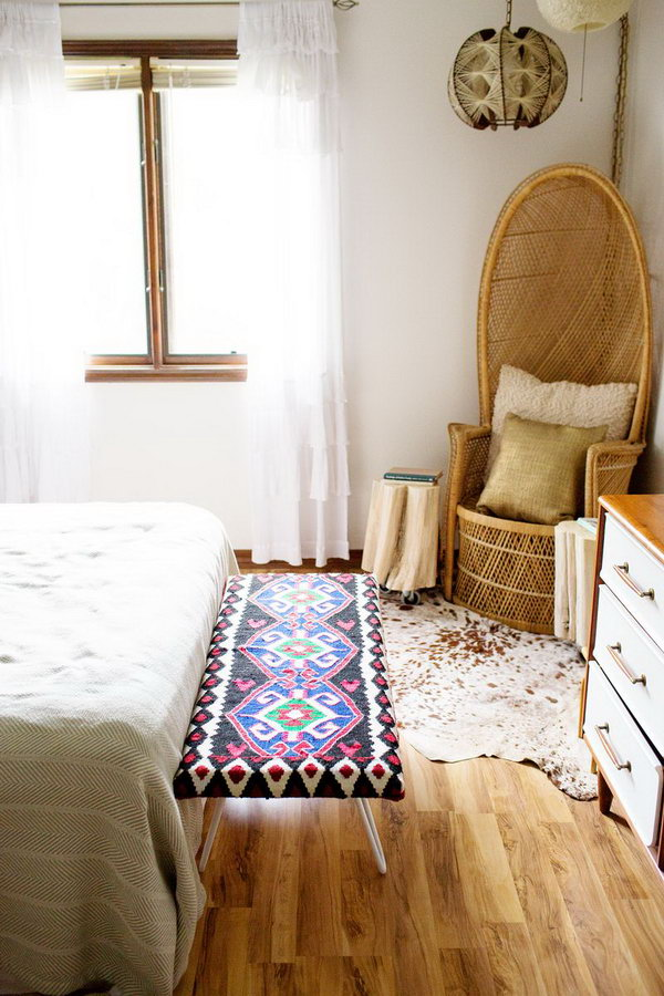 DIY Bedside Bench Rug Makeover