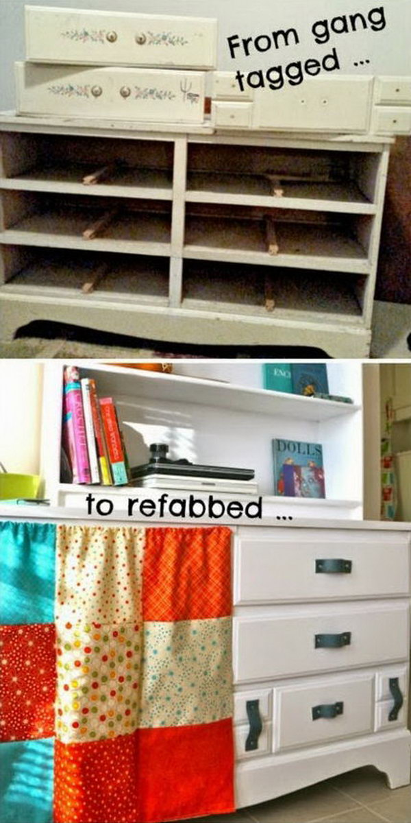 Upcycled Gang-Tagged Dresser