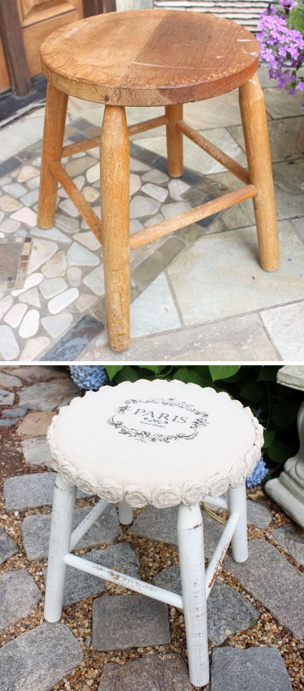 Drop Cloth Rosette Stool Makeover