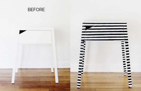 Striped Nightstand Ikea Hack