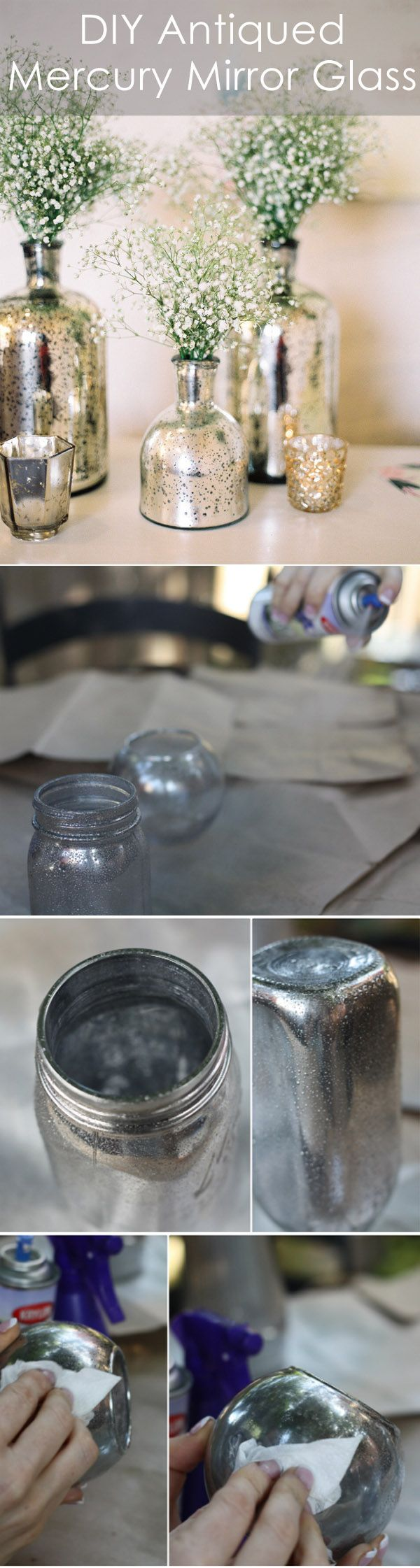 DIY Antiqued Mercury Mirror Glass Vases