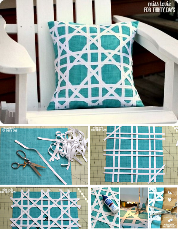 DIY Cane Pattern Outdoor Pillow.