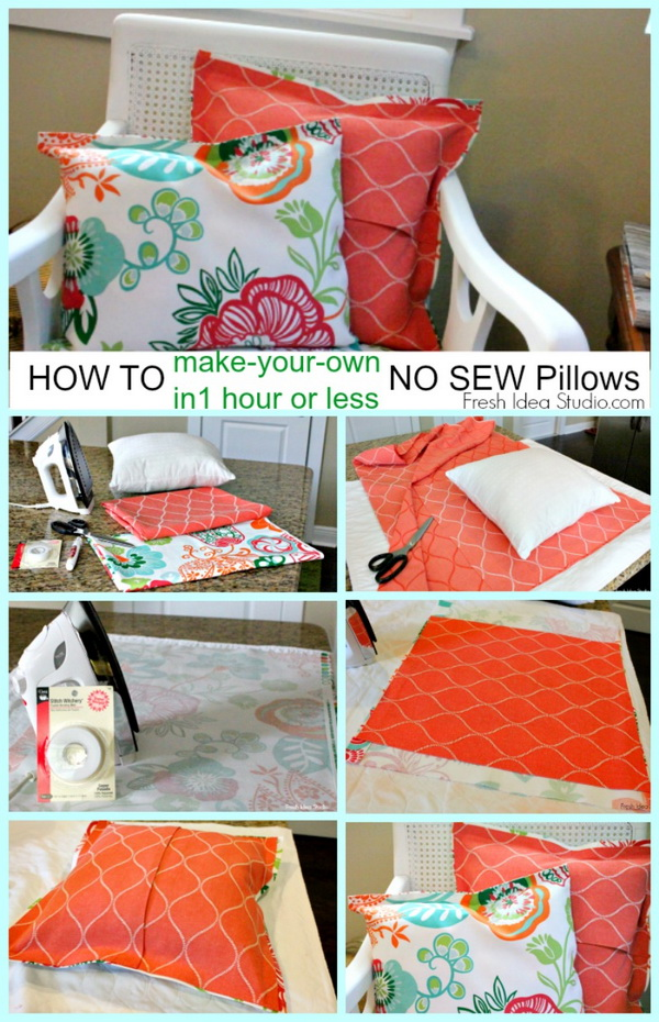 DIY Easy NO-SEW PILLOW Tutorial.