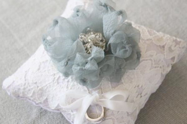 Fabric Flower Ring Pillow