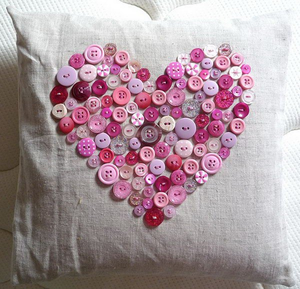 This vintage button heart pillow is perfect for Valentines Day