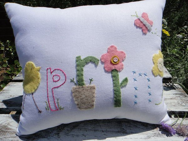 Colorful White Easter Linen Pillow