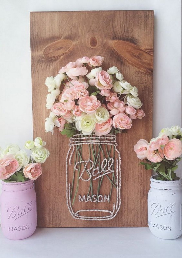 Mason Jar String Art with Faux Flowers